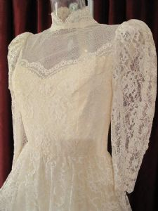 1960's Edwardian style ivory lace vintage wedding gown